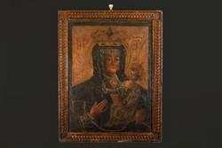 XVIII.sz. Istenszülő Ikon Olaj Vászon Korabeli Keretében Madonna Mária a Gyermek Jézussal 66x51cm