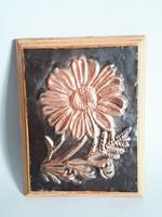 Vintage,retro,virágmintás vörösréz falikép