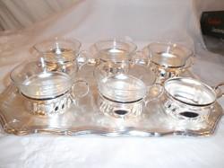 Kávéskészlet - ezüstözött - NSZK - nem használt csésze 1 dl - tálca 34 x 24 cm