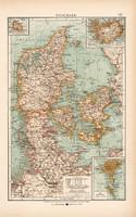 Dánia térkép 1904, eredeti, atlasz,  német, Moritz Perles, Európa, Skandinávia, észak, régi
