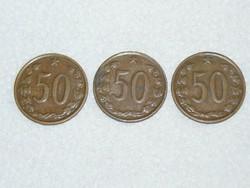 3 db. - 50 Haller - Csehszlovákia