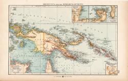 Új - Guinea és Bismarck - szigetek térkép 1904, eredeti, Moritz Perles, német, atlasz, régi, Óceánia