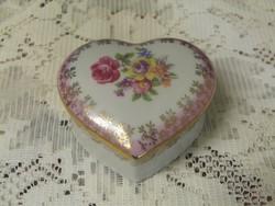 Régi német PM porcelán szív alakú gyűrűtartó bonbonier