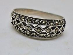 Nagyon szép régi markazitos ezüst karika gyűrű