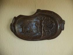 Antik szecessziós bronz falikép 40 cm