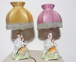 Antik Barokk páros porcelán lámpa 2 db