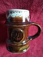 Zsolnay nagyméretű Fürtös György által tervezett pirogránit sörös korsó