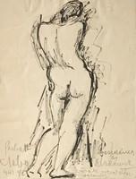 Perlrott Csaba Vilmos Ajánlásával Női Akt Tusrajz 1943