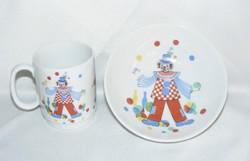 Kaiser porcelán bohócos tálka és bögre
