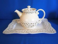 Nagyon különleges és ritka áttört porcelán vagy kerámia tálca, tál és teás kanna, kancsó