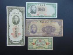 Kína 4 darab yuan LOT !!! Csomagban a 10 yuan 1949 RITKA !!!