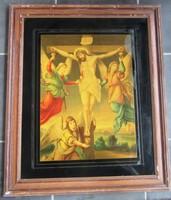 Régi szentkép olajnyomat, 59 x 72 cm, 47 x 59  cm