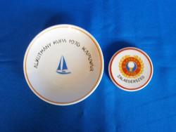 Hollóházi feliratos porcelán tálka és plakett