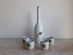 Hollóházi porcelán szőlős butella szett