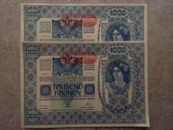 2 db sorszámkövető osztrák 1000 korona 1902/id 8905/