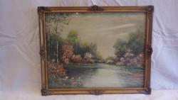 Jelzett , keretezett olaj - karton tájkép festmény