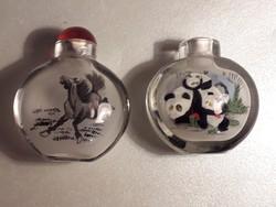 Kínai belső festésű panda mackós és lovas parfümös üveg 2 darab együtt