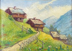 0W663 Ismeretlen festő : Tiroli táj 1910 körül