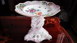 19.századi talpas gyümölcs / sütemény kínáló állvány Ó Herendi porcelán különlegesség
