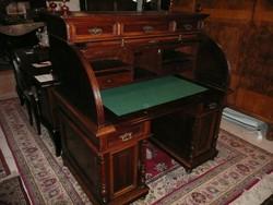 Meseszép antik ónémet faragott írókomód/szekreter/íróasztal intarziás székkel az 1800-as évekből