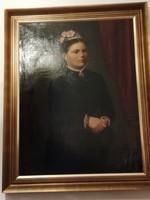 Festmény előkelő hölgy portréja 19.sz bol