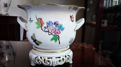 Nagyméretű Ó Herendi Victoria mintás porcelán virágkaspó