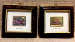 Szép állapotú Vintage miniatűr képek 23K aranylapon John Borg jelzéssel