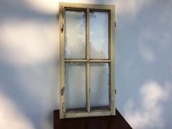 Vintage régi fa ablakszárny fenyő osztott üveges ablak dekoráció