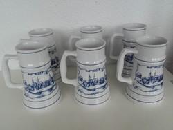 Alföldi porcelán korsók, 6 db, Hódmezővásárhely 1830 felirattal.