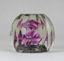 0W587 Bohemia virágos üveg dísztárgy levélnehezék