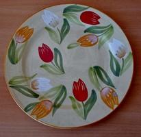 Szép régi népi kézzel festett Sárospatak kerámia tányér jelzett