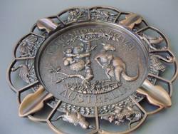 Retro,vintage vörösréz ausztrál,koalás,kengurus dísztál,falitál,falidísz