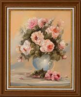 KEDVEZŐ ÁR!Varga Szidónia Rózsa csokor című festménye, EREDETIGAZOLÁS, VISSZAVÁSÁRLÁSI GARANCIA!