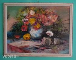 OLAJFESTMÉNY - Virágcsendélet - Megragadó színvilágú csendélet -