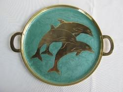 Delfines tűzzománcozott réz tálca