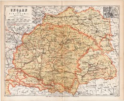Magyarország térkép 1871, lexikon melléklet, német nyelvű, eredeti, Erdély, Galícia, Pesth, régi