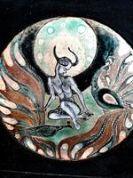Tóbiás Klára Pávák közt tűzzománc falikép