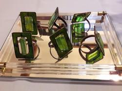 Gyönyörű tűzzománc szalvétagyűrű, üveg betéttel, 6 db