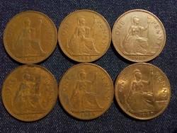 Anglia - Erzsébet királynő One Penny évszám gyűjtemény/id 7767/