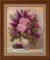 KEDVEZŐ ÁR! Varga Szidónia Orgona csokor című festménye, EREDETIGAZOLÁS, VISSZAVÁSÁRLÁSI GARANCIA!