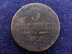 Kopott, de ritkább 3 Krajcár 1851 G (Nagybánya)