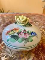 Antik Herendi sárga rózsás virágos bonbonier cukortató