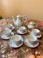 Barokk Zsolnay 6 személyes aranytollazott kis virágos kávés készlet az 1930 -as évekből