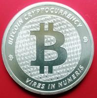 ÚJ egyunciás (1 uncia, 31,1 g) Bitcoin ezüstérme, Ag 999 színezüst érme
