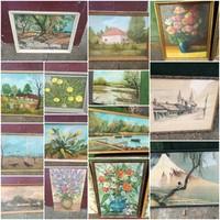 13 festmény és egy Japán kép egyben eladó. Horváth János festmények.