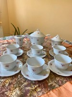 Zsolnay 6 személyes pajzspecsétes manófüles teás készlet az 1930 -as évekből