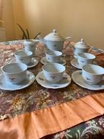 Antik Zsolnay 6 személyes manófüles teás készlet az 1940-es évekből zöld 5 tornyos márkajelzésű