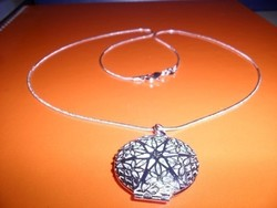 Cizellált Fényképtartós ezüst - fehérarany  Nyaklánc