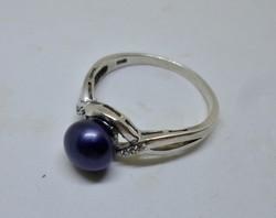 Szép  ezüstgyűrű valódi,gyöngyszemmel 64-es