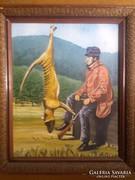 Vadászat után, olaj festmény,